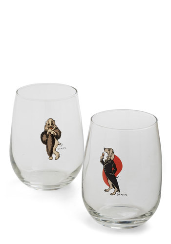 Fancy a Taste Glass Set - Multi, Vintage Inspired, Mid-Century, Good, Print with Animals, Critters