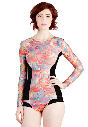 Blend of Beauty Rash Guard - Multi, Black, Trim, Beach/Resort, Urban, Cover-up, Long Sleeve, Spring, Summer