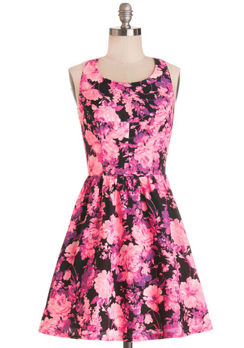 Bright There With You Dress - Floral, Cutout, Party, A-line, Sleeveless, Better, Scoop, Woven, Short, Pink, Girls Night Out