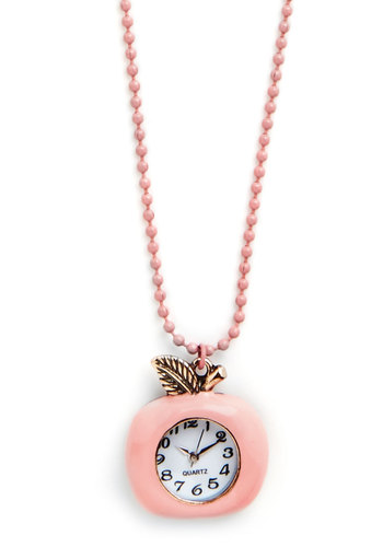 Time for a Bite Necklace - White, Solid, Fruits, Gold, Good, Pink