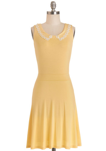 Daisies Daily Dress - Jersey, Knit, Mid-length, Yellow, Solid, Casual, A-line, Sleeveless, Summer, Good, Scoop, Spring, Pastel