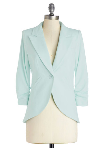 Fine and Sandy Blazer in Mint - Green, Cotton, Mid-length, Mint, Solid, Buttons, Pockets, Work, Daytime Party, Pastel, 3/4 Sleeve, Spring, Variation, 1, Best Seller, Best Seller, Summer