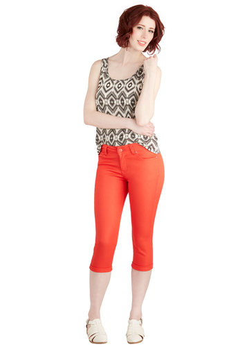 Right on Cue Capri Pants in Orange - Orange, Solid, Pockets, Casual, Neon, Cropped, Skinny, Variation, Nautical, Vintage Inspired, Americana, Spring, Summer, Good, Low-Rise, Capri, Orange, Non-Denim, Social Placements