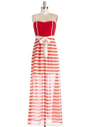 Cherry Soda Pop Dress - Red, White, Stripes, Casual, Maxi, Spaghetti Straps, Good, Woven, Long, Belted, Nautical, Americana, Summer