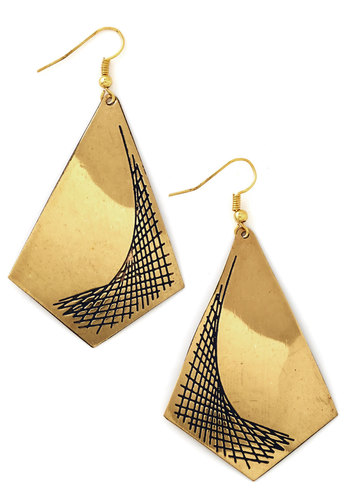 Parabolic Perfection Earrings by Mata Traders - Black, Solid, Festival, Gold, Good, Eco-Friendly
