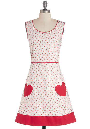 As Swoon As Possible Dress - Patch, Casual, Fruits, Quirky, A-line, Sleeveless, Better, International Designer, Scoop, Red, Novelty Print, Trim, Cotton, Woven, Mid-length, White
