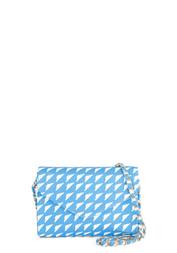 Cloud Pleasing Bag by Kling - Blue, White, Gold, Chain, Better, Faux Leather, Novelty Print, Spring