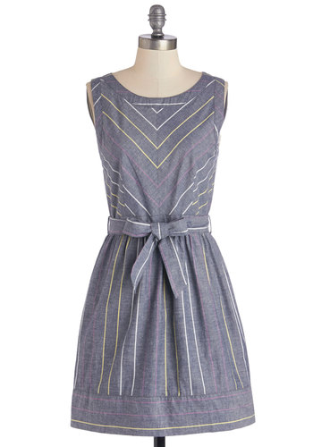 Karin's Get with the Pro-glam Dress - Woven, Cotton, Short, Blue, Multi, Stripes, Belted, Casual, A-line, Sleeveless, Scoop