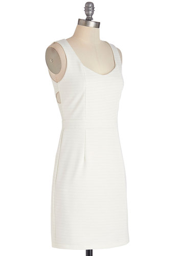 Glisten and Glow Dress - White, Solid, Backless, Buttons, Cutout, Exposed zipper, Casual, Shift, Sleeveless, Good, Woven, Mid-length, Scoop, Girls Night Out