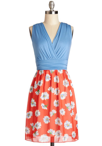 Bliss Beyond Compare Dress - Red, Blue, Floral, Ruching, Casual, A-line, Twofer, Sleeveless, Good, V Neck, Knit, Woven, Mid-length, Spring