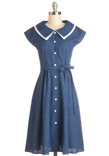 Journey to the Mast Dress in Navy - Blue, White, Solid, Buttons, Belted, Casual, A-line, Shirt Dress, Cap Sleeves, Better, Collared, Woven, Vintage Inspired, 40s, 50s, Variation, Americana, Long
