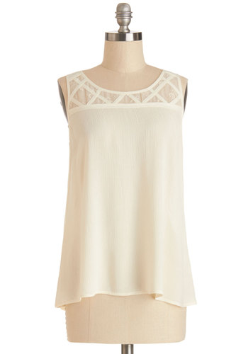 Breeze Through Top - White, Sleeveless, Mid-length, Cream, Solid, Sleeveless, Spring, Scoop, Summer