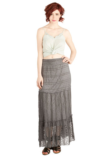 Serene as the Sea Skirt - Maxi, Better, Grey, Lace, Grey, Solid, Lace, Casual, Festival, Beach/Resort, Boho, Vintage Inspired, 70s, Spring, Summer, Good, Long