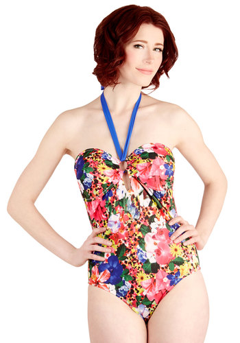 Sunshowers for Hours One-Piece Swimsuit - Multi, Floral, Beach/Resort, Summer, Good, Knit