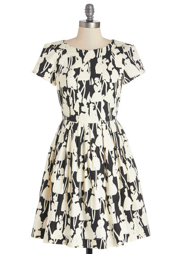 Optical Allusions Dress by People Tree - Tan / Cream, Black, Floral, Party, A-line, Short Sleeves, Best, Scoop, Woven, Cotton, Mid-length, Novelty Print, Pockets