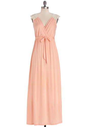 Tango with Me Maxi Dress in Peach - Jersey, Knit, Mixed Media, Lace, Long, Coral, Solid, Lace, Casual, Maxi, Cap Sleeves, Summer, Good, V Neck, Pastel