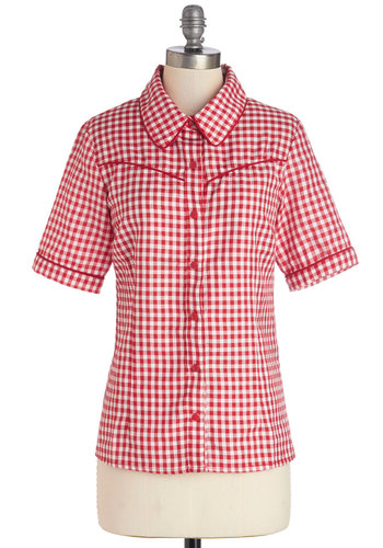Golly Good Time Top - Mid-length, Red, White, Checkered / Gingham, Buttons, Rockabilly, Vintage Inspired, 50s, Short Sleeves, Spring, Collared, Red, Short Sleeve, Woven, Americana