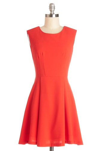 Tangerine Dream Come True Dress - Woven, Solid, Party, A-line, Sleeveless, Good, Orange, Minimal, Top Rated, Short