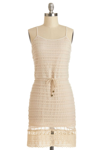 To the Dunes Dress - Woven, Mid-length, Tan, Solid, Crochet, Casual, Beach/Resort, Shift, Spaghetti Straps, Good, Scoop, Belted