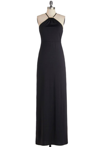 Powerful Entrance Dress - Knit, Black, Solid, Special Occasion, Maxi, Sleeveless, Better, Long