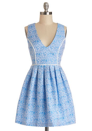 No Place Prettier Dress by Mink Pink - Blue, White, Floral, Cutout, Pleats, Trim, Daytime Party, A-line, Sleeveless, Better, V Neck, Woven, Short, Graduation