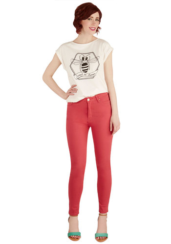 Forever and a Daytrip Jeans in Coral - Cotton, Knit, Solid, Pockets, Casual, Girls Night Out, Skinny, Spring, Summer, Good, Mid-Rise, Ankle, Red, Non-Denim, Coral, Variation