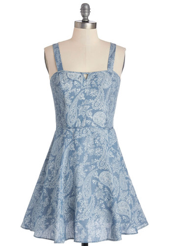 One-Woman Bandana Dress - Blue, Paisley, Cutout, Casual, Sundress, A-line, Better, Woven, Mid-length, White, Tank top (2 thick straps)