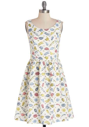 Eggs and Shakin' Dress - Multi, Novelty Print, Casual, A-line, Sleeveless, Better, Scoop, Woven, Quirky, Show On Featured Sale, Short
