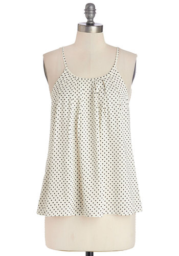 Darling Day Maker Top - White, Sleeveless, Mid-length, White, Polka Dots, Spaghetti Straps, Black, Casual, Spring, Summer, Good