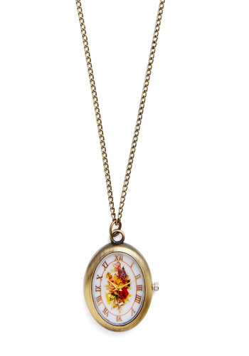 Florescence Upon a Time Necklace - White, Floral, Gold, Pocketwatch, Better, Multi, Graduation