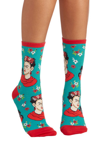 Frida Express Yourself Socks - Blue, Red, Multi, Good, Knit, Novelty Print, Casual, Quirky