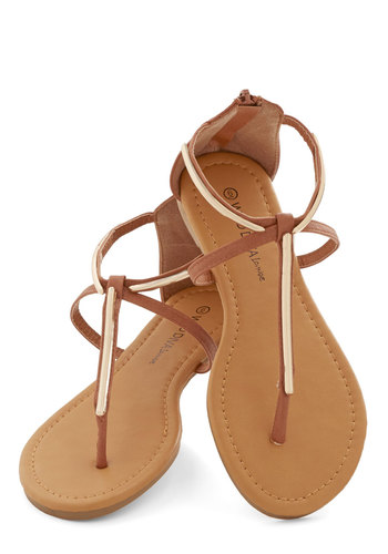 Beam Diggity Sandal - Flat, Faux Leather, Tan, Gold, Beach/Resort, Summer, Strappy