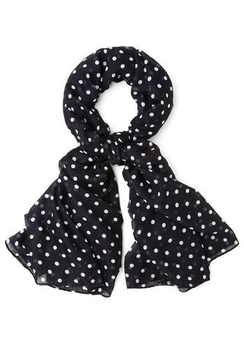 Dots to Discuss Scarf in Black - Black, White, Polka Dots, Better, Variation