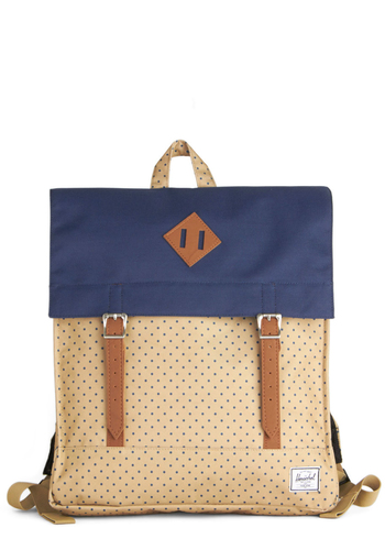 Weekend Market Survey Backpack by Herschel Supply Co. - Blue, Polka Dots, Scholastic/Collegiate, Better, Woven, Tan, Travel, Graduation, Summer