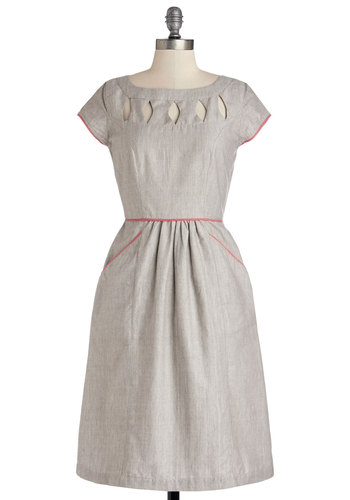 Creative Writing Workshop Dress by People Tree - Cutout, Pockets, Trim, Casual, Cap Sleeves, Better, Scoop, Cotton, Woven, Long, Grey, Solid, Work, A-line, Sheer