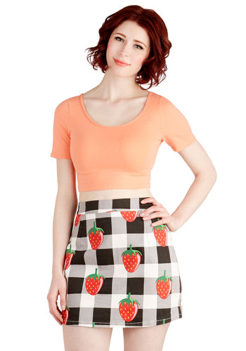 Get Up, Fruit Stand Up Skirt by Lazy Oaf - Cotton, Woven, Short, Checkered / Gingham, Fruits, Spring, Summer, White, Novelty Print, Casual, Daytime Party, Beach/Resort, 80s, 90s, Quirky, Mini, Better, Black/White, Press Placement