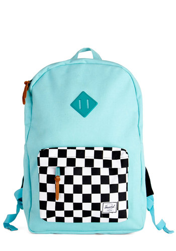 On Your Mark, Get Set, Glow! Backpack by Herschel Supply Co. - Mint, Black, White, Checkered / Gingham, Scholastic/Collegiate, Better, Cotton, Woven, Blue, Graduation