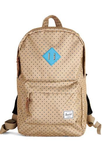 Weekend Market Backpack by Herschel Supply Co. - Tan, Blue, Polka Dots, Scholastic/Collegiate, Better, Woven, Travel, Graduation, Summer, Fall