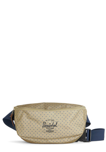Weekend Market Hip Pack by Herschel Supply Co. - Woven, Tan, Blue, Polka Dots, Casual