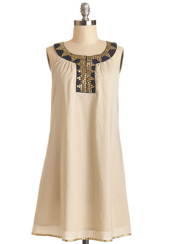 Desert Treasure Dress - Gold, Solid, Beads, Casual, Festival, Tent / Trapeze, Sleeveless, Better, Cotton, Mid-length, Tan, Boho