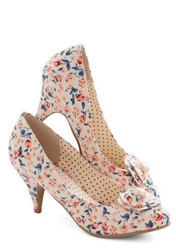 Just My Cup of Tea Heel in Cream by Bait Footwear - Mid, Woven, Floral, Flower, Pearls, Wedding, Daytime Party, Vintage Inspired, 20s, Spring, Better, Variation, Blue, Pink, Multi, Tan / Cream, Social Placements