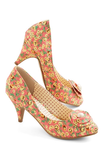Just My Cup of Tea Heel in Peach by Bait Footwear - Mid, Woven, Floral, Flower, Pearls, Wedding, Daytime Party, Vintage Inspired, 20s, Better, Variation, Coral, Yellow, Green