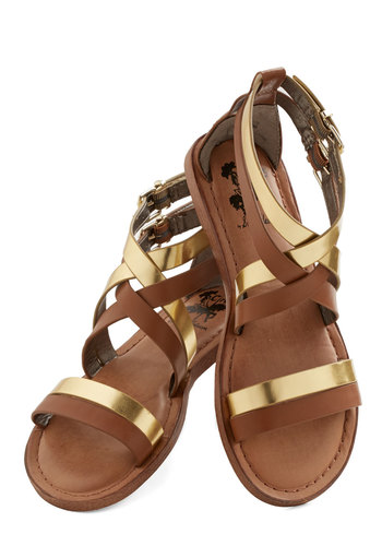 Brandish Your Brilliance Sandal - Flat, Faux Leather, Brown, Gold, Festival, Summer, Boho