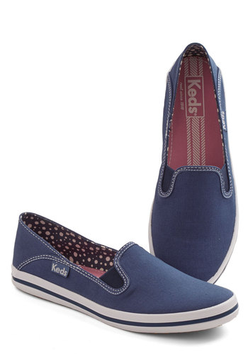 Down for a Day Trip Flat in Navy by Keds - Low, Woven, Blue, Solid, Casual, Nautical, Menswear Inspired, Better, Variation, Summer, Americana, 90s