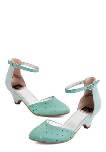 Gliding By Heel in Mint by BC Footwear - Mid, Leather, Solid, Cutout, Prom, Wedding, Party, Vintage Inspired, 20s, Better, Mint, Variation, Social Placements