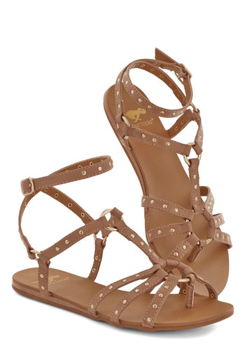 Ring Around the Town Sandal - Flat, Faux Leather, Tan, Solid, Studs, Casual, Festival, Summer