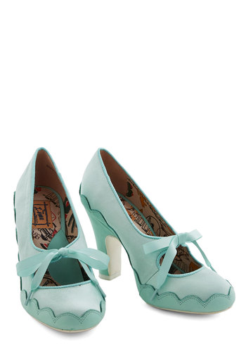 Trim and Proper Heel by Miss L Fire - Mid, Leather, Mint, Solid, Bows, Scallops, Wedding, Party, Daytime Party, Vintage Inspired, 20s, 30s, Darling, Best, Lace Up, Pastel