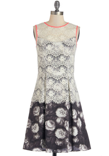 We're Having Company Dress - Black, White, Floral, Cutout, Lace, Pleats, Trim, Party, A-line, Sleeveless, Better, Scoop, Woven, Mixed Media, Lace, Mid-length
