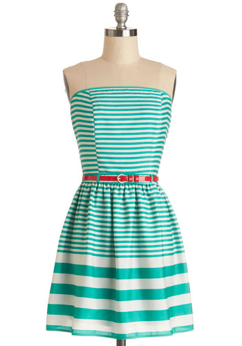 Mellow Manner Dress - Stripes, Belted, Casual, Sundress, A-line, Strapless, Good, Woven, Mid-length, Green, White
