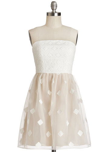 Beguiling Belle Dress - Woven, Short, White, Pink, Special Occasion, Prom, Party, A-line, Strapless, Summer, Better